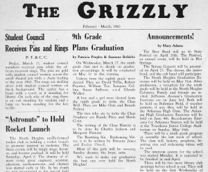 March, 1963 edition of The Grizzly, student paper at NHJS.
