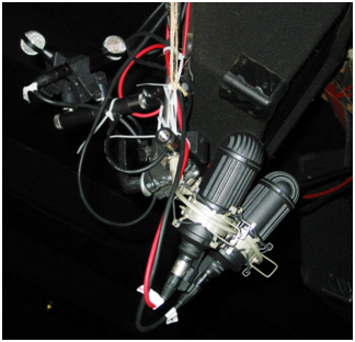 Setup for virtual presence capture using ribbon microphones, two matched Oktavas and a pair of Beyers.
