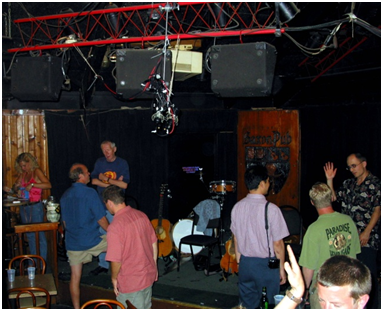 Stage showing microphone position relative to audience and musicians and audience.