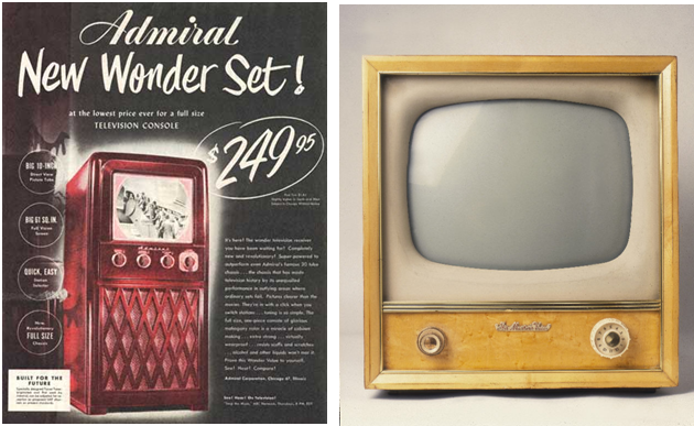 "1948 model television.  Note the size of the speaker grill compared to the picture tube.  The one to the right is from about 5 years later.  Where'd the speaker go?  By the mid-1950s the speaker had not only shrunk to 4"" or so, it was banished to the side on many sets.  Who cared?  Nobody ""listened"" to TV, they WATCHED it in total concentration."
