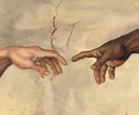 "Detail of ""Creation of Adam"" by Michelangelo where our Creator passes the spark of reason to man.  At least, that is how I see it."